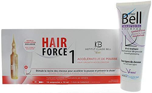 Hairbell Champú Flowers 'N' Fruits + Pelo Force One - Serum Ampollas, Caída Cabello Y Haar-Behandlung, Nuevo Crecimiento Del Cabello Estimulación, más Rápido Wachsendes Pelo