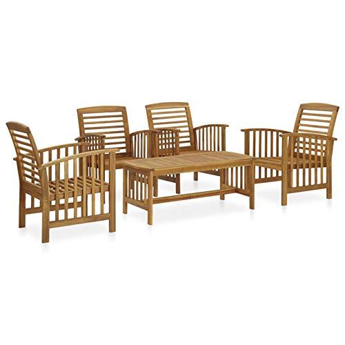 Tidyard Muebles de Jardin Exterior Conjuntos Mesa y Sillas Terraza Juego de Muebles de jardín 5 Piezas Madera Maciza de Acacia