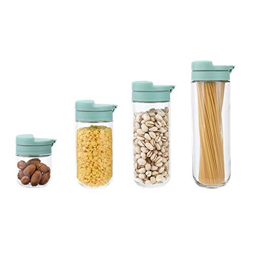 WFS Recipiente hermetico Recipientes de Almacenamiento de Alimentos de Vidrio Tarro Transparente con Tapa Organización para té Sugar Snack Cereal Noodle 4 PCS Alta Capacidad (Quantity : 4)