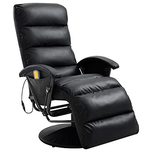 vidaXL TV Massagesessel mit Wärmefunktion Massage Elektrisch Fernsehsessel Relaxsessel Sessel Relaxliege Liegesessel Ruhesessel Schwarz Kunstleder