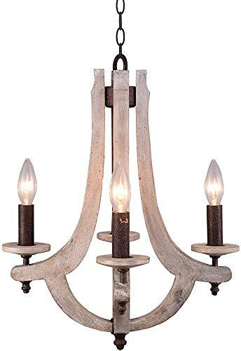 SOWLFE Retro araña de Hierro-Madera 4 candelabro de Madera Retro lámpara de araña de Metal de Hierro Antiguo Pendiente de la lámpara Colgante lámpara de araña, Gris Antiguo,White