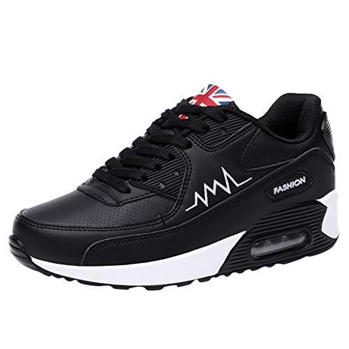 VJGOAL Turnschuhe Damen Weiss Wedges Sneaker Sport Laufschuhe Schaukelschuhe Dicker Boden Atmungsaktiv Schuhe Anziehen(Schwarz,36)