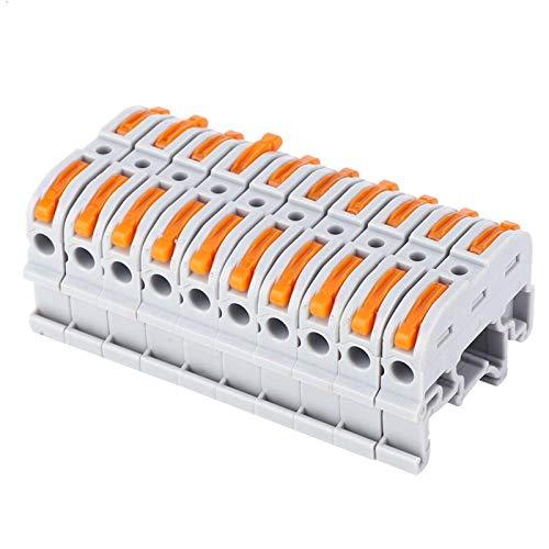 10 Uds PCT-211 Terminal de cableado rápido Cable de bloque de terminales Conectores rápidos Conector de cable tipo riel 0,2-4 mm²(PCT-211 Gris claro)