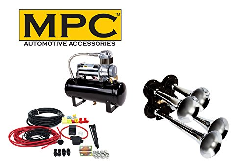 MPC Train Air Horn Kit; Four Trumpets with 12-Volt Heavy Duty 150 PSI Compressor