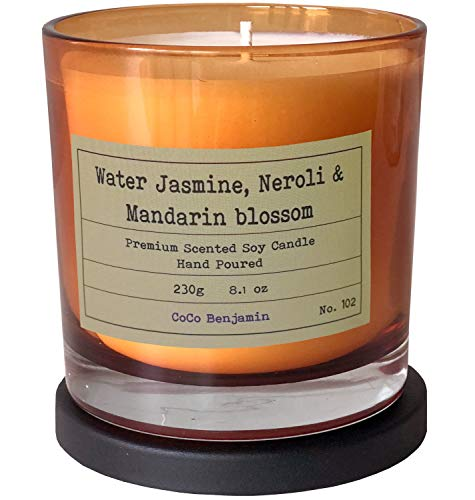 Soy Candle , Highly Scented, Hand Poured, 8.1 oz (Water Jasmine,Neroli &Mandarin Blossom)