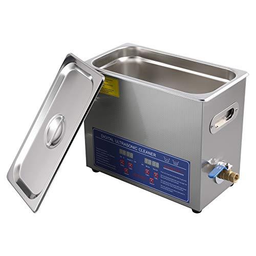 Valens Pulitore Ultrasuoni Industriale Digitale 180W Pulitore ad Ultrasonic con Riscaldatore e Timer per Gioielli Orologi Protesi Dentarie Anelli Occhiali per Laboratorio Casa (6L)