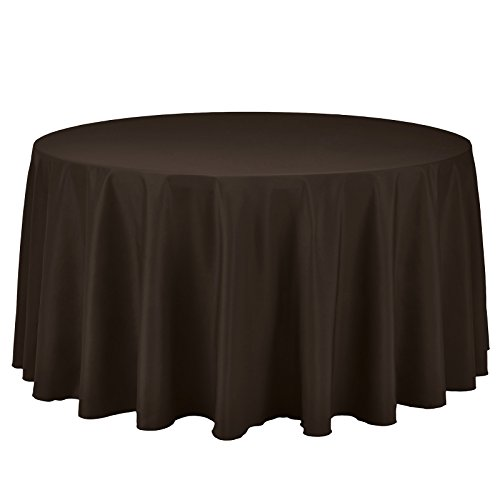 """VEEYOO 120"""" Inch Round Tablecloth 100% Polyester Circular Wrinkle Free Table Cloth – Solid Soft Dinner Table Cover for Buffet Table, Wedding, Parties and Dinner (Chocolate Table Cloths)"""