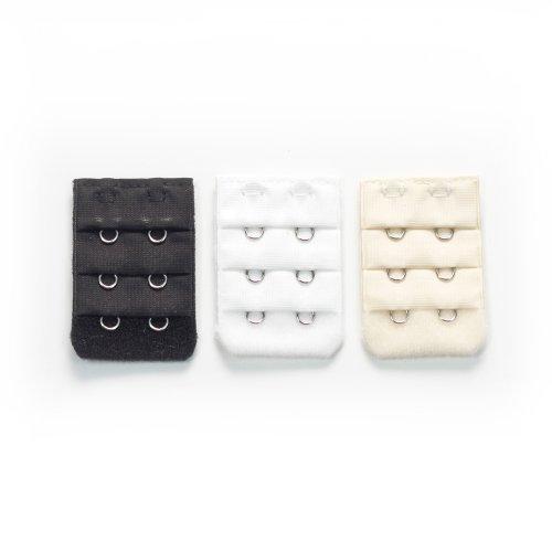 More of Me to Love Two-Hook Bra Extender 3-Pack - Black, White, Beige