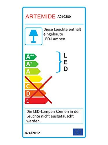 Artemide Tolomeo LED-wandlamp, aluminium, A010300+A025150