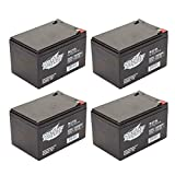 Interstate Batteries 12V 12AH Sealed Lead Acid (SLA) Battery (AGM) - .250 Faston Spade Terminals (SLA1104) - Pack of 4