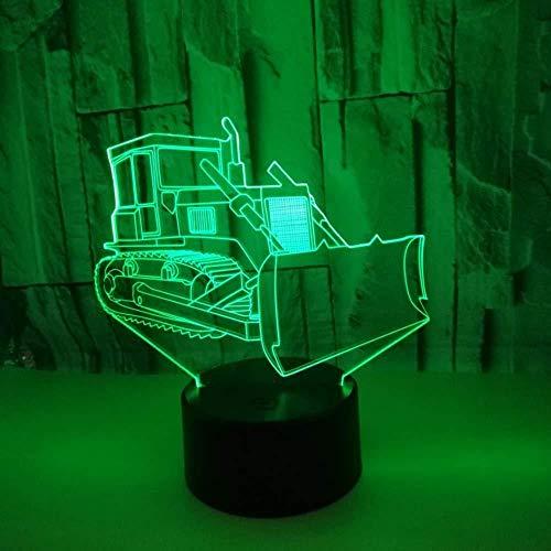 3D Symphony of Lights Bulldozer modelled, nachtlampje, bureau op nachtkastje, lampje, 7 kleuren, touch-schakelaar, USB-kabel, nachtlampje voor thuis, decoratie voor kinderen, verjaardagscadeau