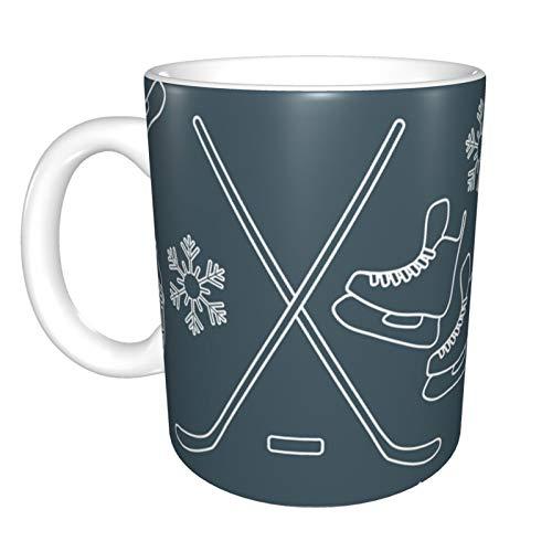 Skates, Goalkeeper, Hockey Stick, Snowflakes. Best Funny Coffee Mug Gift Idea For Men Women Office Work Adult Humor Employee Boss Coworkers