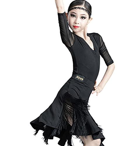 ZYLL Disfraz de Baile Latino con Flecos para nios, Vestidos de saln de Baile de Salsa Tango con Flecos y borlas para nias, Competencia de Disfraces Latinos,Negro,3XS
