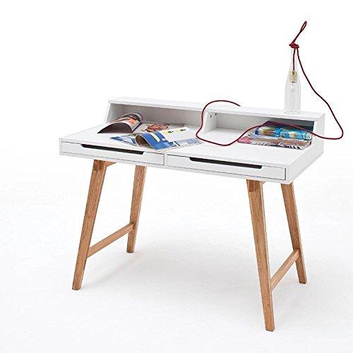 Schreibtisch 110 X 58 cm MDF Weiss Lackiert/Buche Massiv