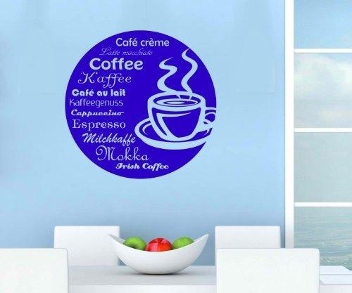 myDruck-Store Adesivo da Parete Cucina Tazza di caffè Coffee Tattoo Adesivi da Parete Decalcomania 5q651, Bianco Opaco, 55cm
