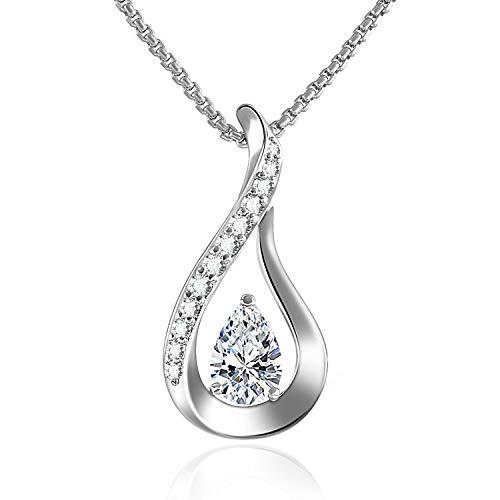GEORGE · SMITH Collier Pendentif Argent Sterling 925 pour Femme, Collier Or Rose avec Diamant Zircon 5A, Cadeau Anniversaire Fête des Mères Maman