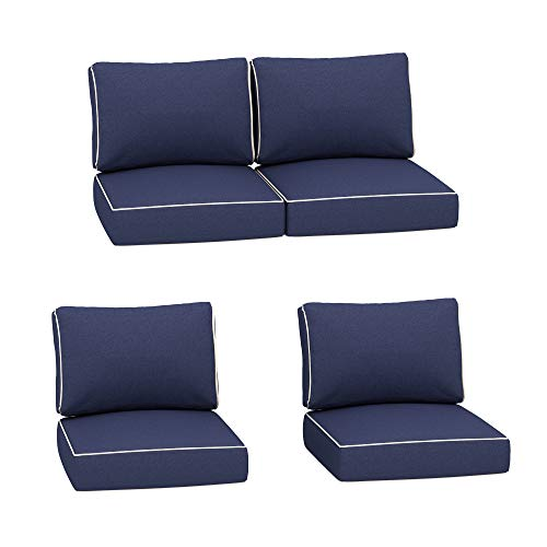 Creative Living 4PC Chat Outdoor Deep Seating Patio 24x24 Replacement Cushions, 8 Piece Set, Navy