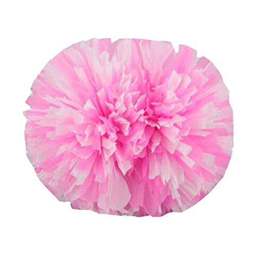 Black Temptation 14 Pouces Cheerleading Flower Ball Poms Cheerleading Accessoires de compétition, Rose et Blanc