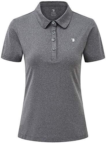 JINSHI Donna Polo da Lavoro a Maniche Corte Shirt Sportivo Golf Tennis Top Grigio Scuro XXL