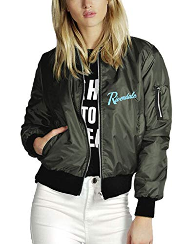 Riverdale Jacke Damen, Teenager Mädchen Southside Serpents Jacket Herren Coole Jacket Frauen Baseball Winterjacke Pullover Pulli Sweatshirt mit Reißverschluss Langarm Shirt Outwear (E-Grün,2XL)
