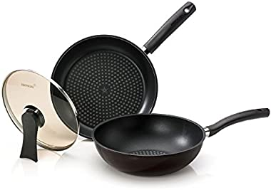 Happycall 5 Layer Diamond Nonstick Pan and Wok 3-piece Set, 11inch, PFOA-Free, Cookware Set, Dark Brown