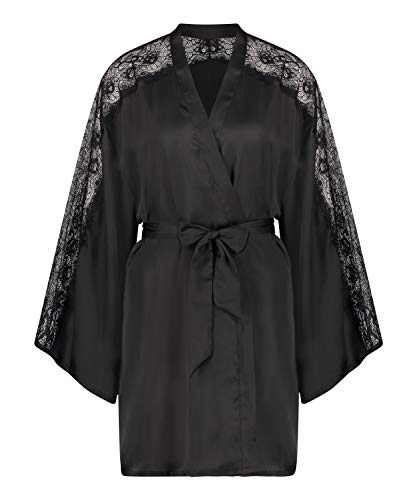 HUNKEMÖLLER Kimono Satin Lace Schwarz XL/XXL