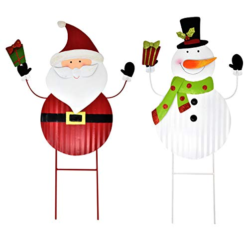 Gift Boutique 2 Christmas Stakes Metal Snowman and Santa Yard Decor for Outdoor Garden Decorations Stake Decorative 3D Snowmen Welcome Lawn Pathway Driveway Signs