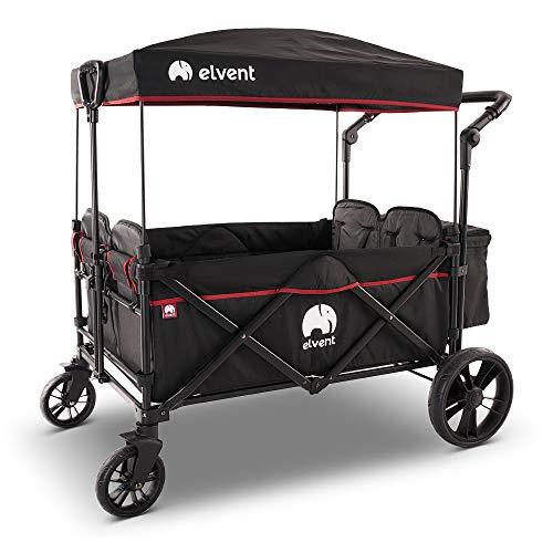 elvent® WagonPro Bollerwagen/Handwagen faltbar mit Dach I 4 Sitzplätze | groß I Sitzpolster, Hecktasche, Feststellbremse, 5-Punkt-Gurt I für 4 Kinder