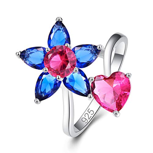 Psiroy 925 Sterling Silver Created Ruby Spinel Filled Flower & Heart Ring for Women Size 6