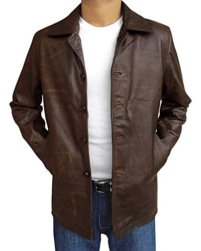 Slim Fit Vintage Classic Cafe Racer Motorrad Biker Lederjacke Gr. XL, Natural Brown Distressed Leather Jacket