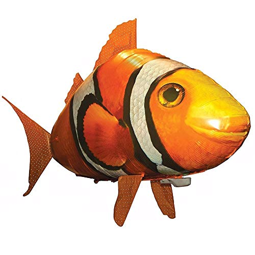MikeyBee Remote Control Shark Toys Air Swimming Fish RC Animal Toy Infrared RC Fly Air Balloons Clown Fish Toy Gifts Party Decoration(Orange)