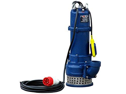 Rotek 1,5kW / 400V elektrische Schmutzwasser Tauchpumpe mit Schneidwerk, Stahlgehäuse und Saugkorb