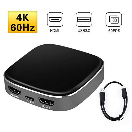 USB-3.0-Video-Karte, 4K-Eingang, 1080P 60 fps Aufnahme, USB 3.0 Typ C HDMI, gebrannt für Gaming, unterstützt HD-CP You-Tube O B S T-witch für PS-3 PS-4 Wii-U, nicht null, Schwarz , 80*80*16mm(l*w*h)