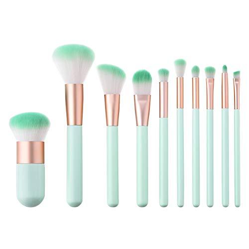 SNOWINSPRING 10 PièCes SéRies Vert Gradient Maquillage Brosses Ensemble Fondation MéLange Puissance Brosse Kit CosméTique Beauté