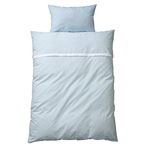 WELLYOU, Kinder Bettwäsche, hell-blau weiß Vichy-Karo, 100% Baumwolle, Maße: 135x200 cm