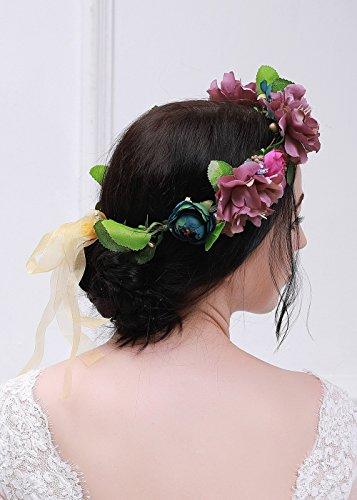 Kercisbeauty Rose Peony Burgundy Flower Crown Garland Wedding Hair Wreath Bridal Headpiece Halo Flower Garland Boho Floral Headband with Ribbon for Wedding Pageant Festival Party