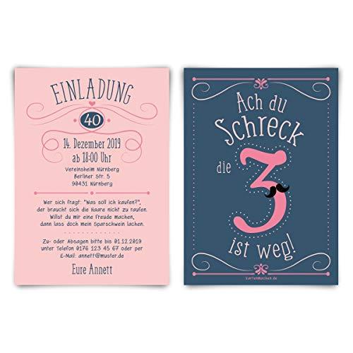 20 x Individuelle 40. Geburtstag Einladungskarten Klappkarten DIN A6 (148x105mm) - Die 3 ist weg