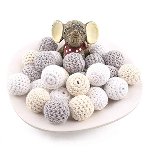 Promise Babe Hölzern Perlen Häkeln Runden 20mm 10PC Süßigkeits Mischfarbe Hölzerne Korne DIY Beißring aus Holz Baby Beißring Spielzeug Pflege Schmuck Zubehör