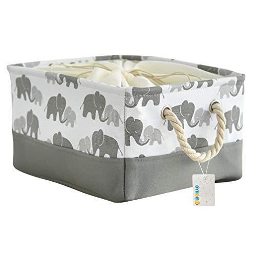OYHOMO Faltbare Aufbewahrungskorb Verdicktes Canvas-Stoff Aufbewahrungsbox Rechteck Regalkorb Organizer mit Kordelzug und Baumwollseilgriff, Grau Elefant - M