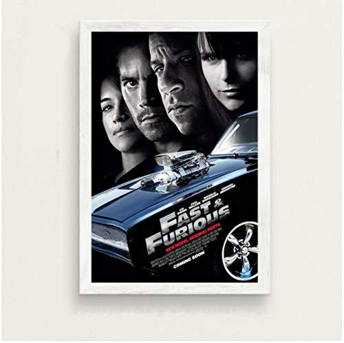 Póster De La Serie De Películas Clásicas Fast and Furious Paul Walker Vin Diesel Pintura En Lienzo De Arte Retro para La Decoración De La Pared del Hogar 50X70 Cm (19.68X27.55 In) N-563
