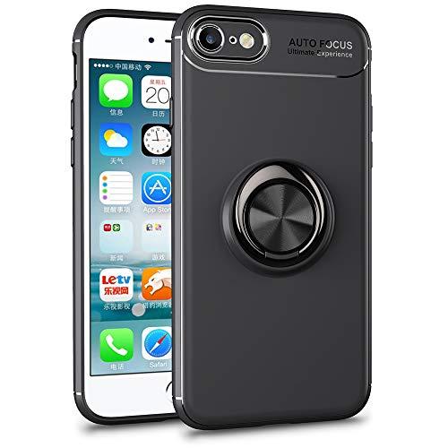 NALIA Ring Case Compatible con iPhone SE 2020/8 / 7 Funda, Silicona Carcasa con 360-Grados Anillo Giratorio para Soporte de Coche Magnético, Kickstand Cover Cubierta Protectora TPU, Color:Negro
