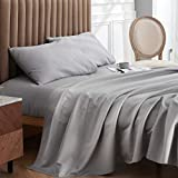 Bedsure 1000 Thread Count Cotton Bed Sheets Set for Queen Bed, Deep Pocket Luxury Sheets Queen Size Bed, Grey (Queen / Full, 90'x102')