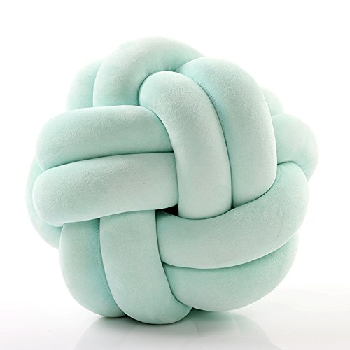 HB.YE Handmade Knot Ball Pillow, Fluffy Decorative Pillow for toddlers, 10' Back Support Round Pillow - MINT GREEN