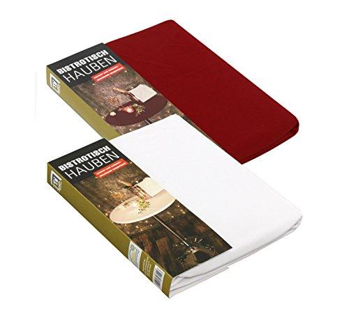 Brandseller 2-delige set tafelhoezen rond tafelkleed voor bistrotafels/statafels 60 cm rood
