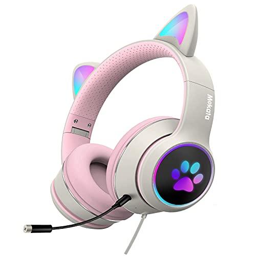 Mokata Gaming-Kopfhörer, kabelgebunden, AUX, 3.5 mm, über Ohr, Katze, LED-Licht, begrenzt 110–85 dB, für Kinder und Erwachsene, faltbar, Stereo-Headset mit Mikrofon für PC, TV, PS4, H02, Beige / Weiß