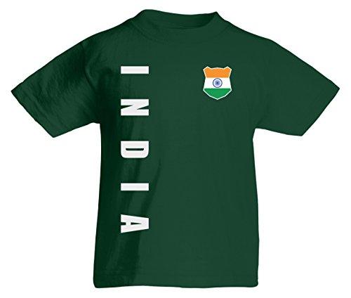 Indien India WM-2022 Kinder T-Shirt Wunschname Nummer Flaschengrün 116