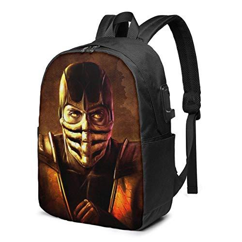 17 in Backpack Laptop USB Charger Bookbag Ninja Scorpion Schoolbag Fashion Women Boy Label Card Bag