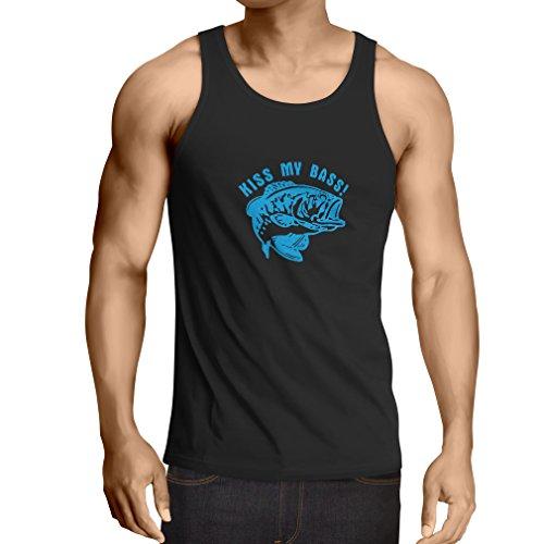 lepni.me Camisetas de Tirantes para Hombre Bese mi Perca, Camisa del Pescador Regalo Divertido del Amante de la Pesca (XXXX-Large Negro Azul)
