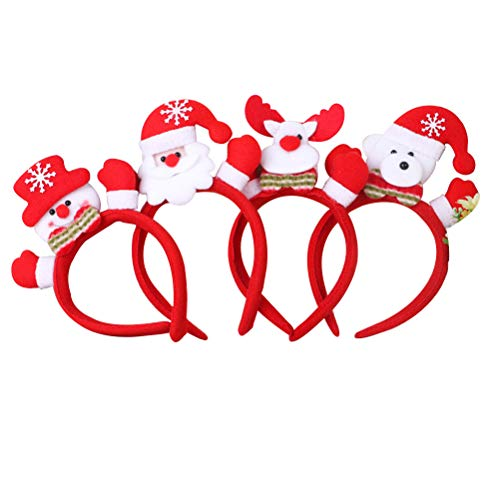 BESTOYARD 4pcs Weihnachten Stirnband Rentier-Haarreifen Kopfbedeckung Haarschmuck mit Led Licht Weihnachtsfeier Kostüm Deko