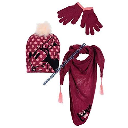 Disney Minnie - Juego de 3 piezas, gorro, bufanda y guantes rosa...
